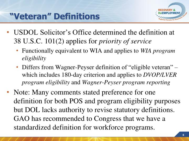 """""""Veteran"""" Definitions"""