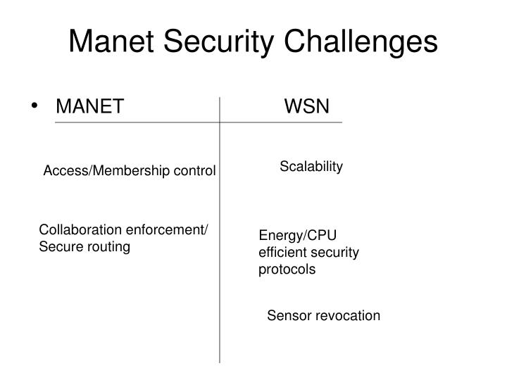 Manet Security Challenges