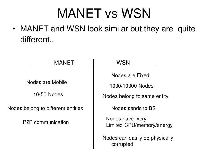 MANET vs WSN