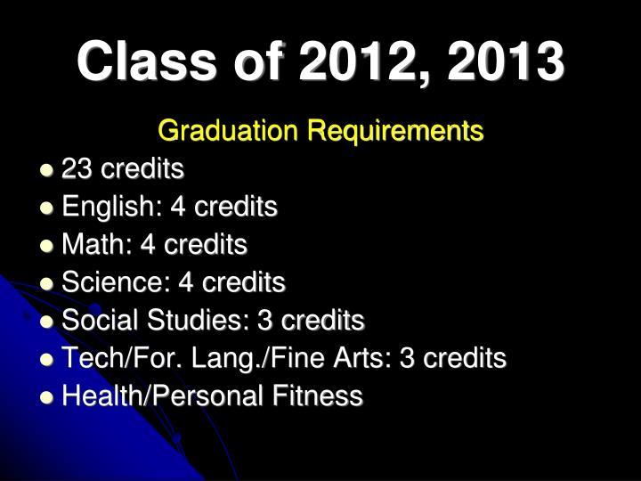 Class of 2012, 2013