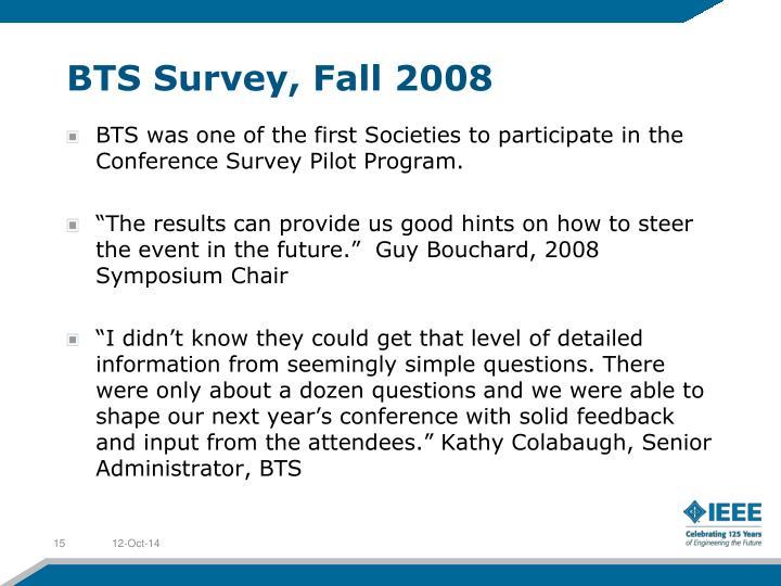 BTS Survey, Fall 2008