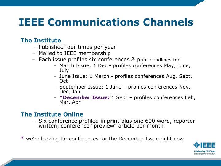 IEEE Communications Channels