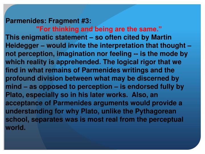 Parmenides: Fragment #3: