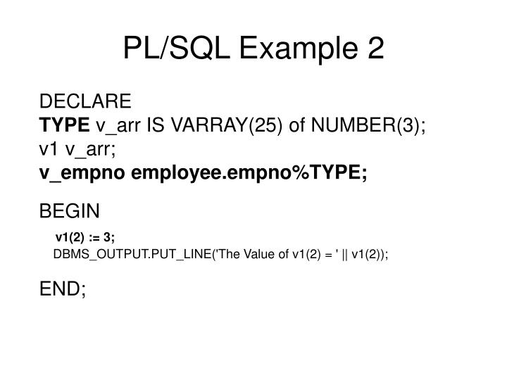PL/SQL Example