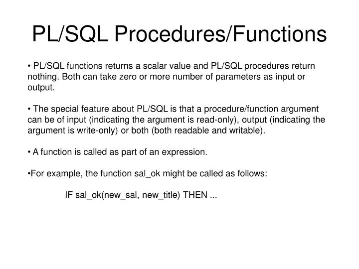 PL/SQL Procedures/Functions