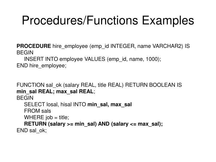 Procedures/Functions Examples