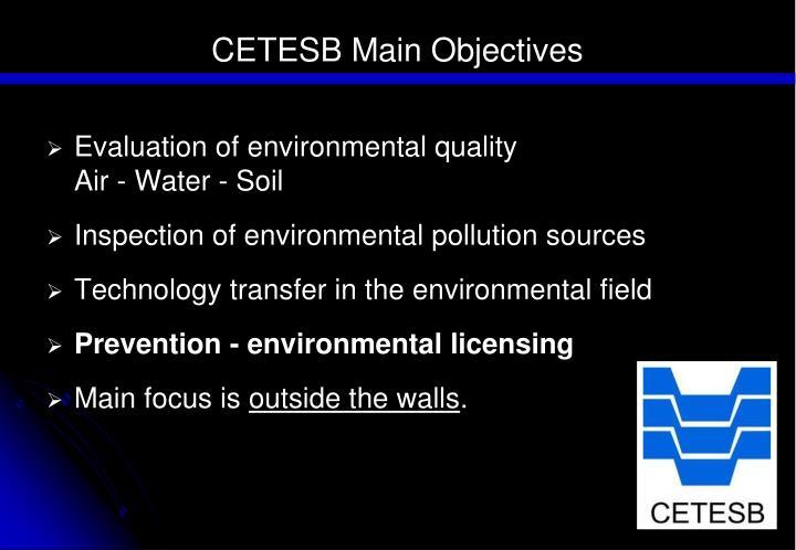 CETESB Main Objectives