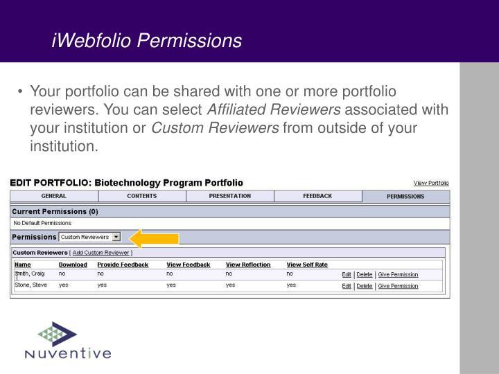 iWebfolio Permissions