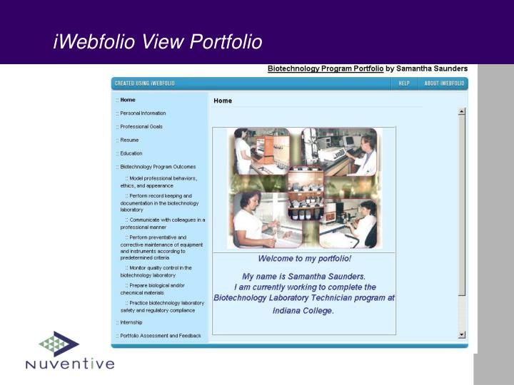 iWebfolio View Portfolio