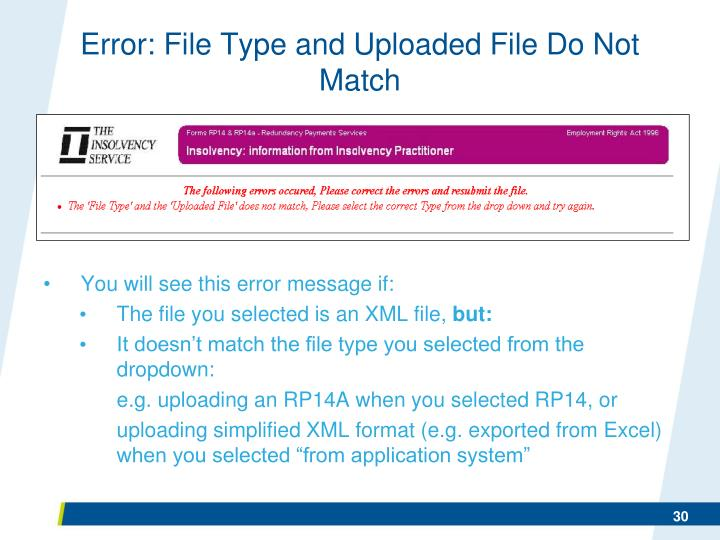 Error: File Type and Uploaded File Do Not Match