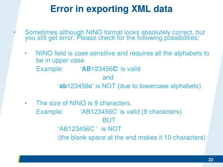 Error in exporting XML data