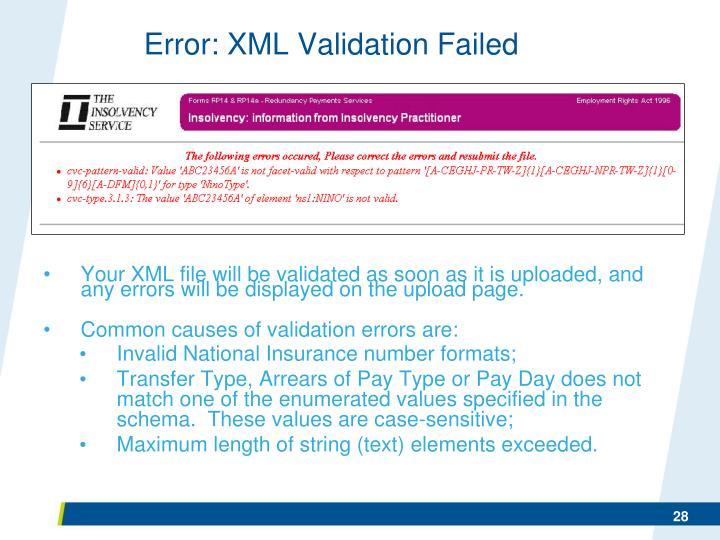 Error: XML Validation Failed