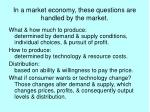in a market economy these questions are handled by the market