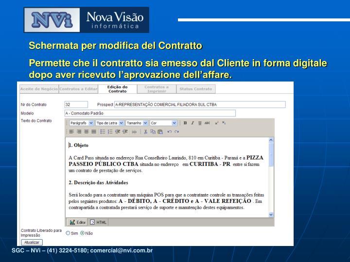 Schermata per modifica del Contratto