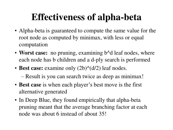 Effectiveness of alpha-beta