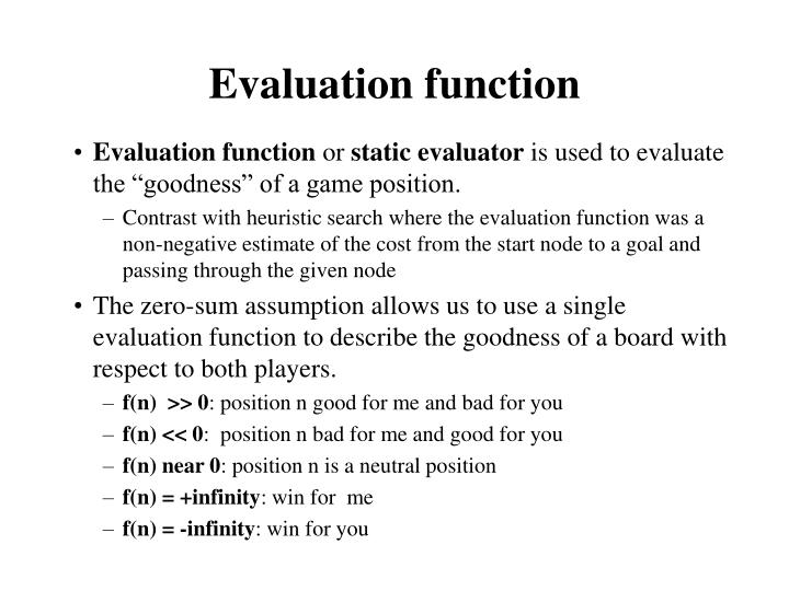 Evaluation function