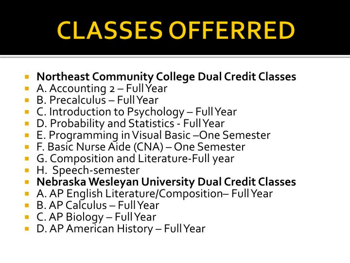 CLASSES OFFERRED