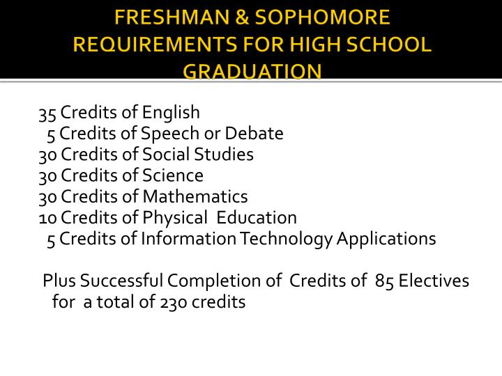 FRESHMAN & SOPHOMORE REQUIREMENTS FOR HIGH SCHOOL GRADUATION