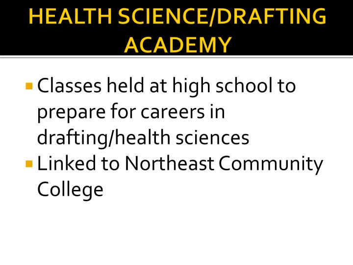 HEALTH SCIENCE/DRAFTING ACADEMY