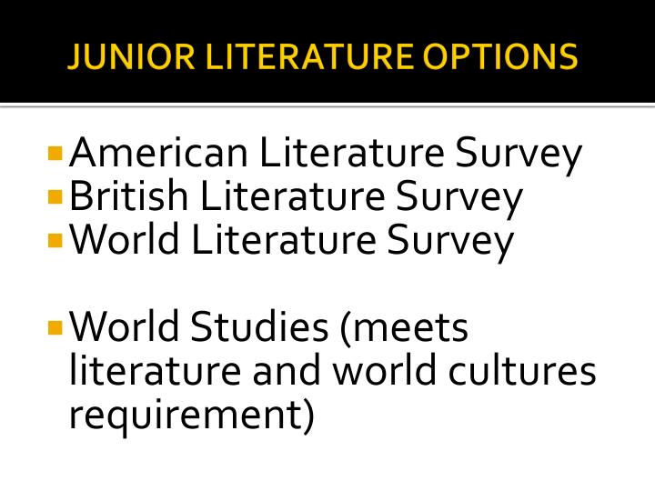 JUNIOR LITERATURE OPTIONS