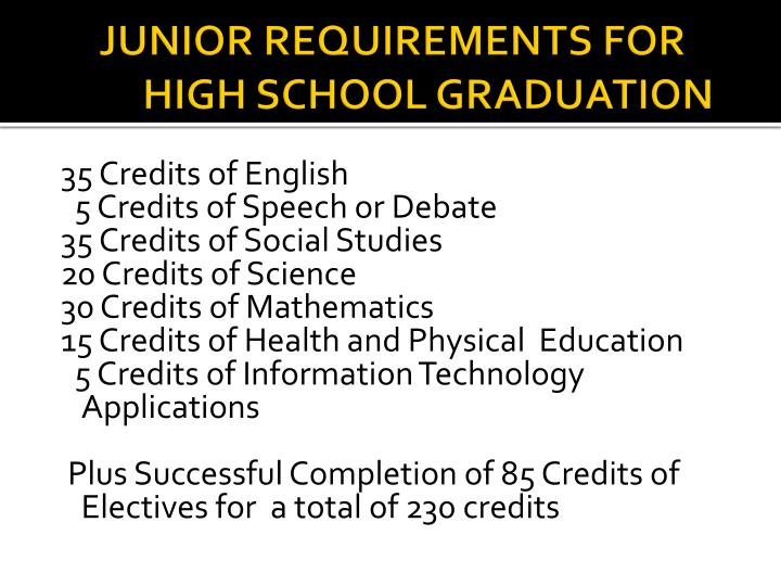 JUNIOR REQUIREMENTS FOR HIGH SCHOOL GRADUATION