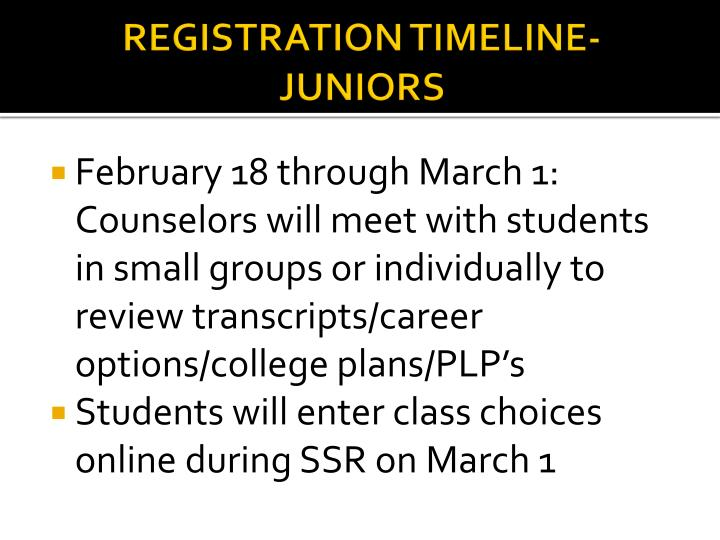 REGISTRATION TIMELINE-JUNIORS