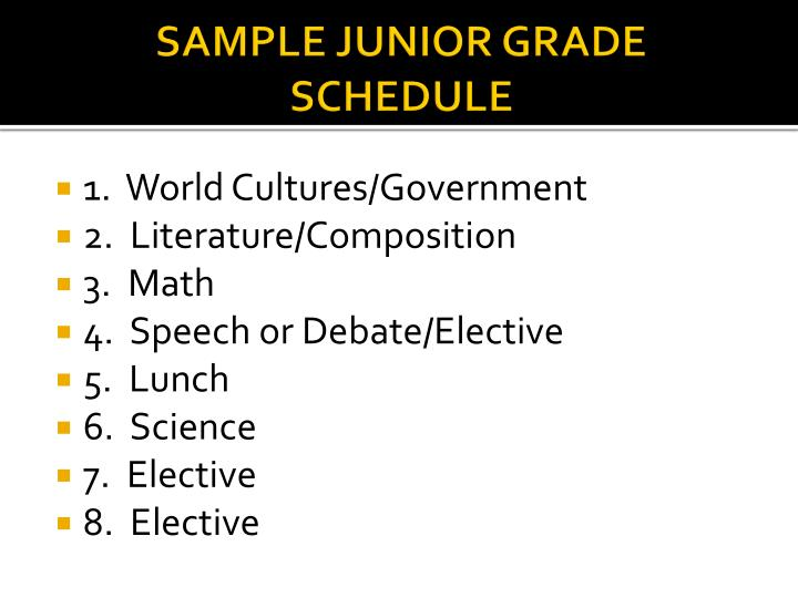 SAMPLE JUNIOR GRADE SCHEDULE