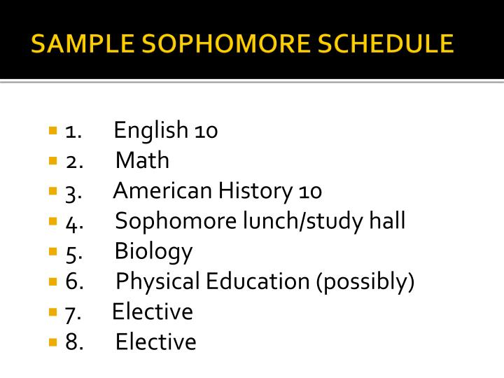 SAMPLE SOPHOMORE SCHEDULE