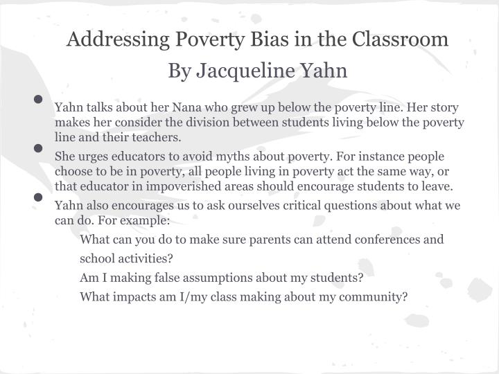 Addressing Poverty Bias in the Classroom
