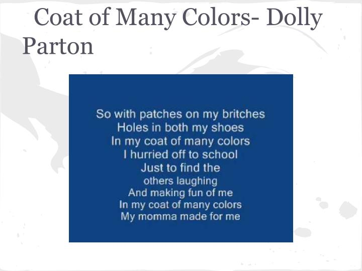 Coat of Many Colors- Dolly Parton