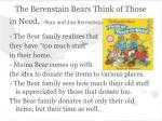 the berenstain bears think of those in need stan and jan berenstain