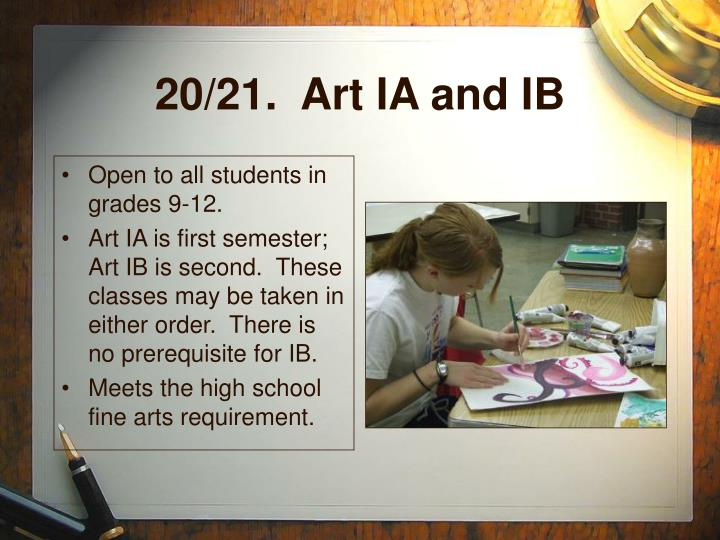 20/21.  Art IA and IB