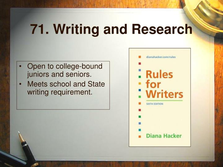 71. Writing and Research