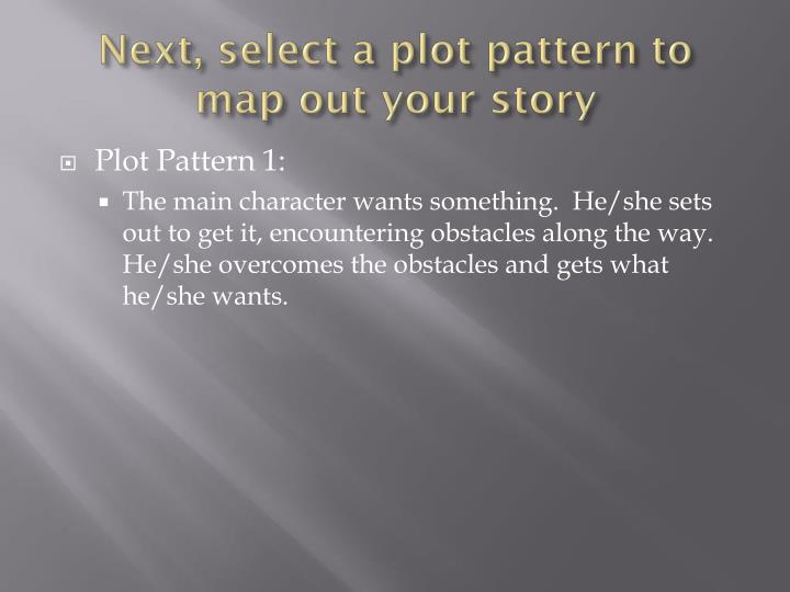 Next select a plot pattern to map out your story