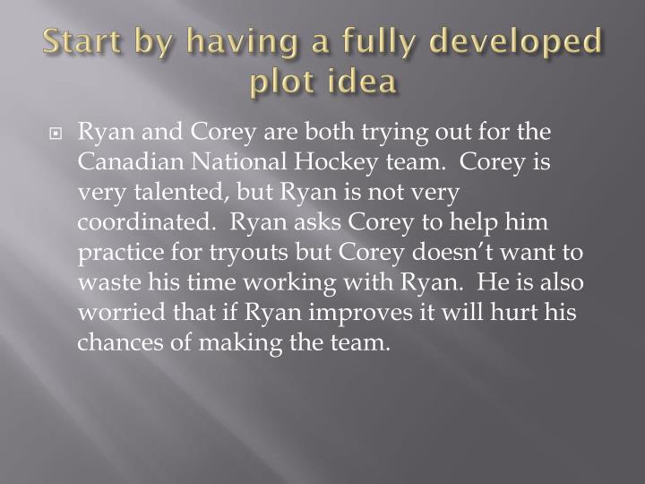 Start by having a fully developed plot idea