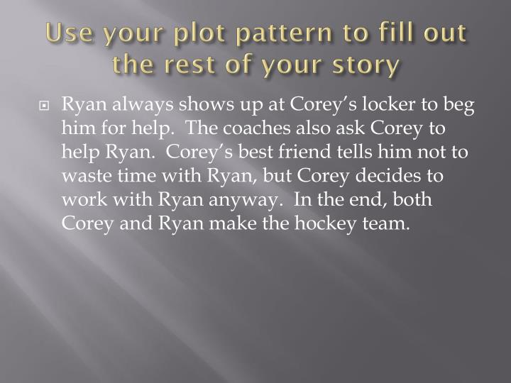 Use your plot pattern to fill out the rest of your story