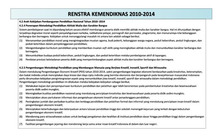 RENSTRA KEMENDIKNAS 2010-2014