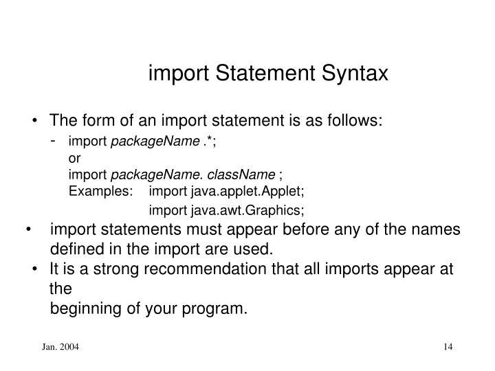 import Statement Syntax