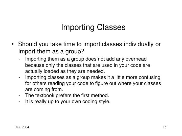 Importing Classes