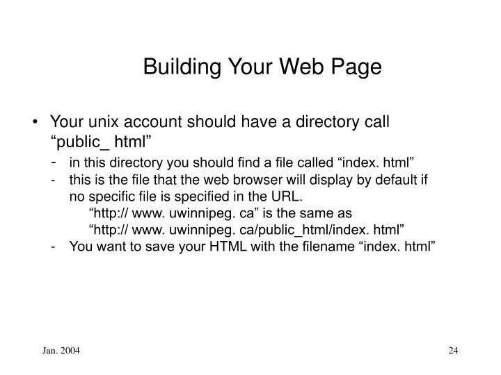 Building Your Web Page