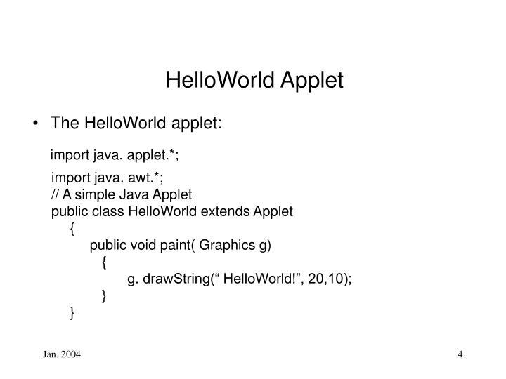 HelloWorld Applet