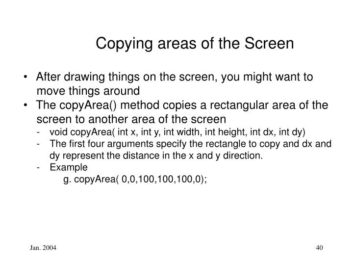 Copying areas of the Screen