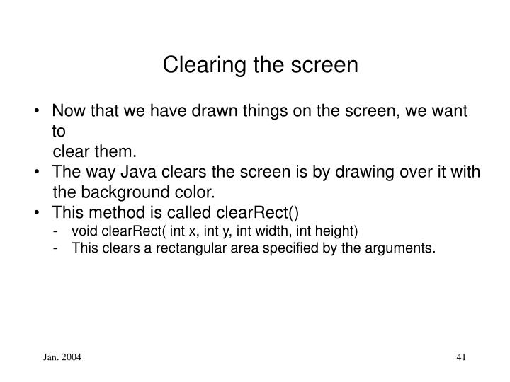 Clearing the screen