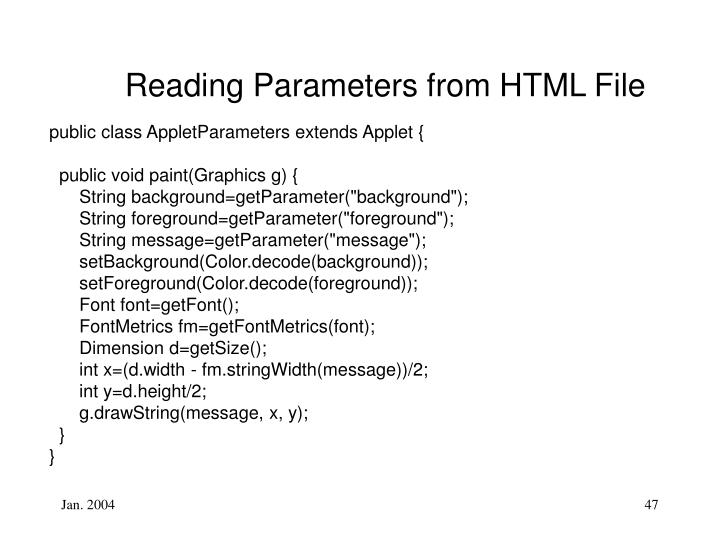 Reading Parameters from HTML File