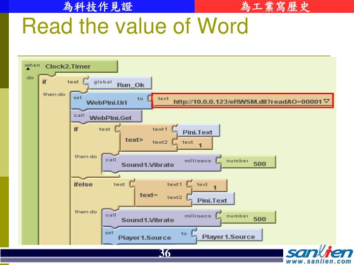Read the value of Word