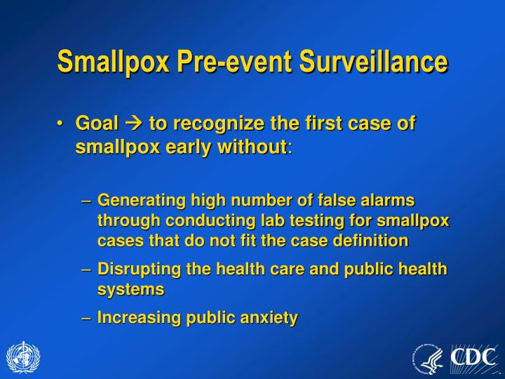Smallpox Pre-event Surveillance