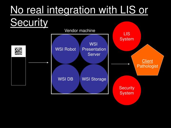 No real integration with LIS or Security