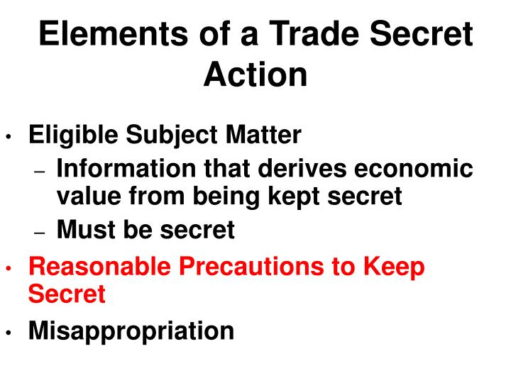 Elements of a Trade Secret Action