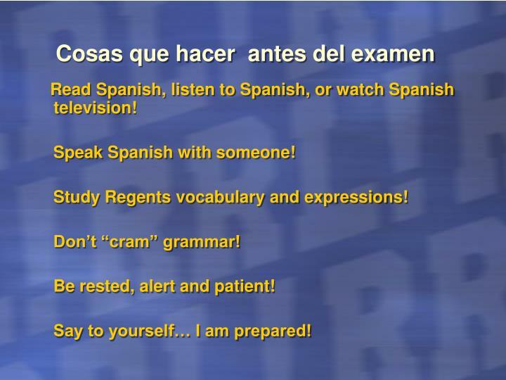 Cosas que hacer  antes del examen