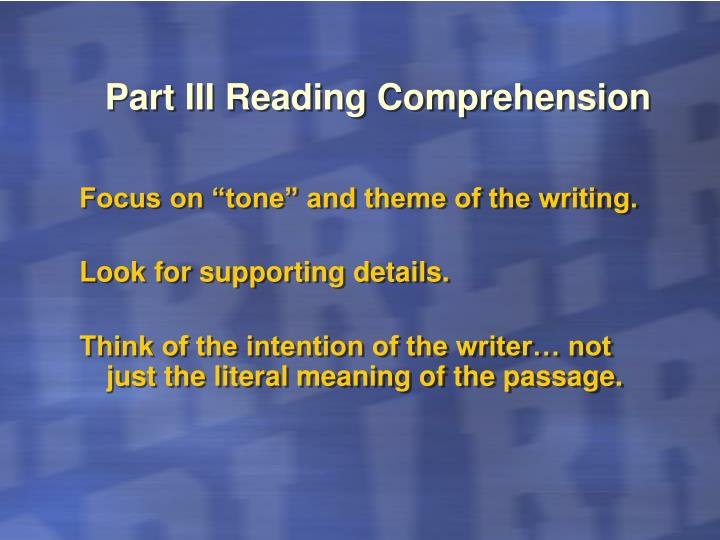 Part III Reading Comprehension
